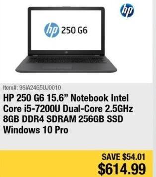"Newegg Black Friday: HP 250 G6 15.6"" Notebook Intel Core i5, 8GB Ram, 256GB SSD, Win 10 Pro for $614.99"