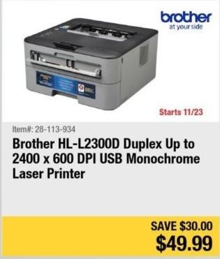 Newegg Black Friday: Brother HL-L2300D Monochrome Laser Printer for $49.99