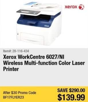 Newegg Black Friday: Xerox WorkCentre 6027/NI Wireless Multi-function Laser Color Printer for $139.99
