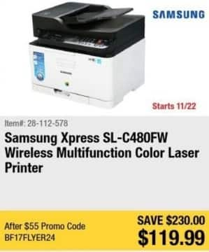 Newegg Black Friday: Samsung Xpress SL-C480FW Wireless Multifunction Color Laser Printer for $119.99