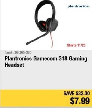 Newegg Black Friday: Plantronics Gamecom 318 Gaming Headset for $7.99