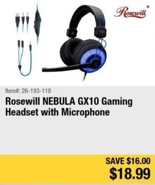 Newegg Black Friday: Rosewill NEBULA GX10 Gaming Headset w/ Microphone for $18.99