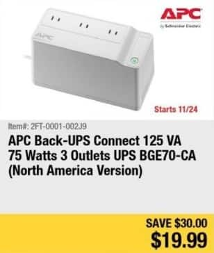 Newegg Black Friday: APC Back-UPS Connect 125 VA 75 Watts 3 Outlets UPS for $19.99