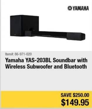 Newegg Black Friday Yamaha Yas 203bl Soundbar W Wireless Subwoofer Bluetooth For See Deal