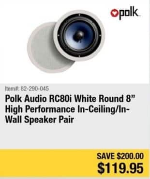Newegg Black Friday: Polk Audio rc80I White Round 8-in. High Performance In-Ceiling/In-Wall Speaker Pair for $119.95