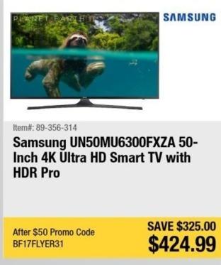 "Newegg Black Friday: 50"" Samsung UN50MU6300FXZA 2160p 4K Smart UHD TV for $424.99"