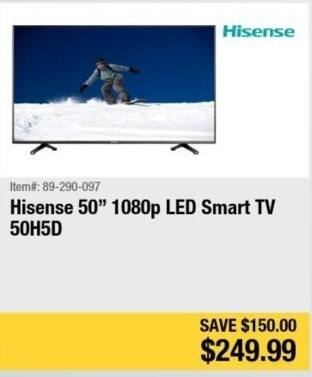 "Newegg Black Friday: 50"" Hisense 50H5D 1080p Smart LED HDTV for $249.99"