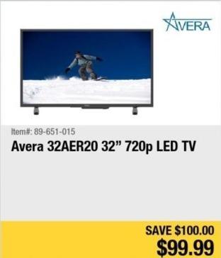 """Newegg Black Friday: 32"""" Avera 32AER20 720p LED TV for $99.99"""