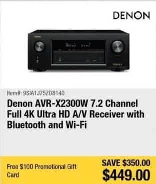 Newegg Black Friday: Denon AVR-X2300W 7.2-Channel Full 4K Ultra HD A/V Receiver w/ Bluetooth & Wi-Fi + $100 Newegg Gift Card for $449.00