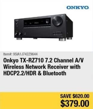 Newegg Black Friday: Onkyo TX-RZ710 7.2-Channel A/V Wireless Network Receiver w/ HDCP2.2/HDR & Bluetooth for $379.00