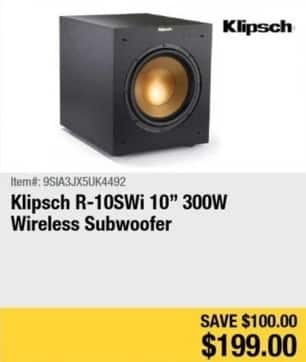 "Newegg Black Friday: Klipsch R-10SWi 10"" 300W Wireless Subwoofer for $199.00"