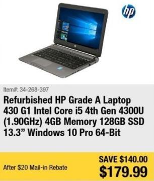 "Newegg Black Friday: HP Grade A 13.3"" Laptop Intel Core i5, 4GB Ram, 128GB SSD, Win 10 Pro - Refurb for $179.99 after $20.00 rebate"