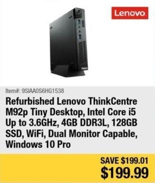 Newegg Black Friday: Lenovo ThinkCentre M92p Tiny Desktop Intel Core i5, 4GB Ram, 128GB SSD, Win 10 Pro - Refurb for $199.99