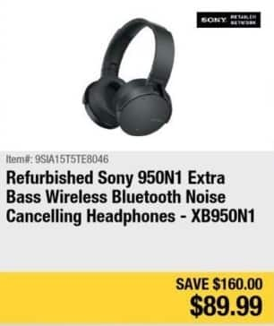 Newegg Black Friday: Sony 950N1 Extra Bass Noise Cancelling Headphones - Refurb for $89.99