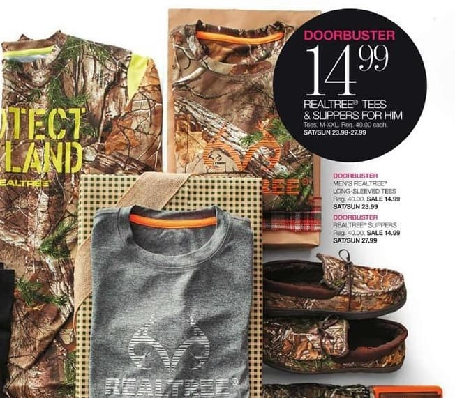 Stage Stores Black Friday: Realtree Tees & Slippers for Him for $14.99