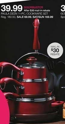 Stage Stores Black Friday: Paula Deen 11-pc Cookware Set for $39.99 after $30.00 rebate
