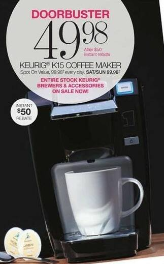 Stage Stores Black Friday: Keurig K15 Coffee Maker for $49.98 after $50.00 rebate