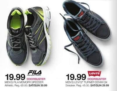 Stage Stores Black Friday: Fila Memory Speeder or Levi's Turner Denim Ox Sneakers for Men for $19.99