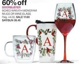 Stage Stores Black Friday: Boxed Wreath Monogram Mugs or Wine Glasses for $17.60