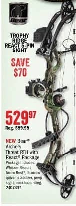 Bass Pro Shops Black Friday: Bear Archery Threat RTH React Compound Bow Package for $529.97