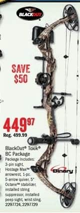 Bass Pro Shops Black Friday: BlackOut Toxik BC Compound Bow Package for $449.97