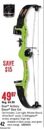 Bass Pro Shops Black Friday: Bear Archery Brave Youth Bow Set for $49.97