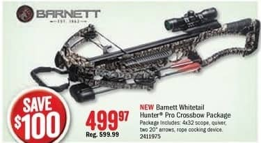 Bass Pro Shops Black Friday: Barnett Whitetail Hunter Pro Crossbow Package for $499.97