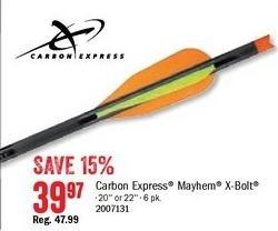 Bass Pro Shops Black Friday: Carbon Express Mayhem Crossbow X-Bolt for $39.97