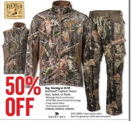 Bass Pro Shops Black Friday: RedHead Explorer Fleece Vest, jacket or Pants - 50% Off