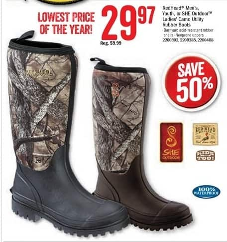 Bass Pro Shops Black Friday: RedHead Camo Utility Waterproof Rubber Boots for $29.97