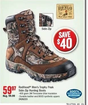 Bass Pro Shops Black Friday: RedHead Trophy Peak Insulated Waterproof Side Zip Hunting Boots for Men for $59.97