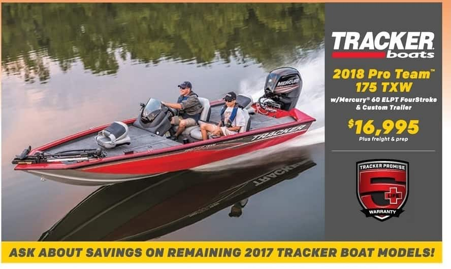 Bass Pro Shops Black Friday: Tracker Boats 2018 Pro Team 175 TXW w/ Mercury 60 ELPT FourStroke & Custom Trailer for $16,995.00