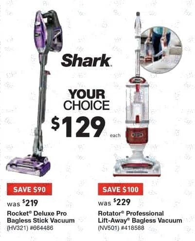 Lowe's Black Friday: Shark Rocket Deluxe Pro Bagless Stick Vacuum or Shark Rotator Professional Lift-Away Bagless Upright Vacuum for $129.00