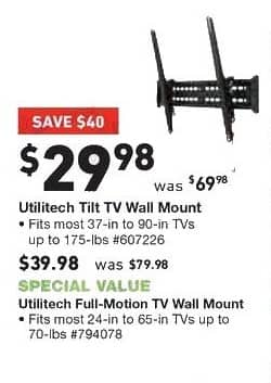 Lowe's Black Friday: Utilitech Steel Wall TV Mount for $29.98