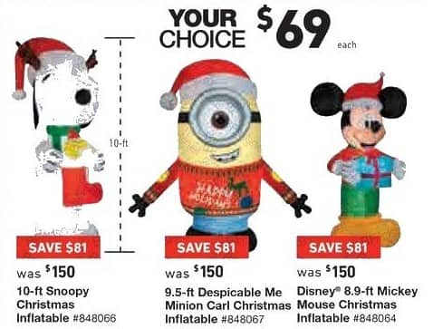 lowes black friday snoopy despicable me minion carl or mickey mouse christmas inflatable for