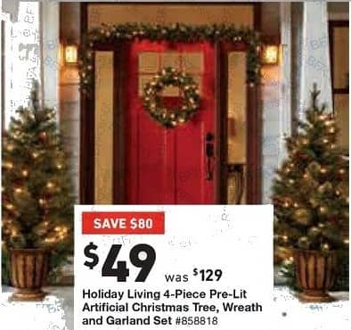 lowes black friday holiday living 4 pc pre lit artificial christmas tree - Lowes Christmas Trees Prelit