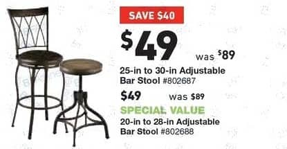 "Lowe's Black Friday: 25"" - 30"" Adjustable Bar Stool or 20"" - 28"" Adjustable Bar Stool for $49.00"