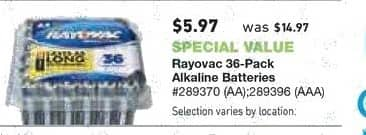Lowe's Black Friday: Rayovac 36-Pack AA or AAA Batteries for $5.97