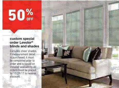 Lowe's Black Friday: Levolor Custom Special Order Blinds and Shades - 50% Off