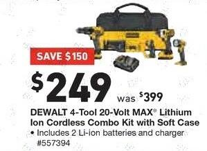 Lowe's Black Friday: DEWALT 4-Tool 20-Volt Max Lithium Ion Cordless Combo Kit w/ Soft Case for $249.00