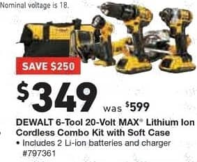Lowe's Black Friday: DEWALT 6-Tool 20-Volt Max Lithium Ion Cordless Combo Kit w/ Soft Case for $349.00