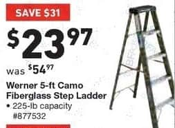 Lowe's Black Friday: Werner 5' Camo Fiberglass Step Ladder for $23.97