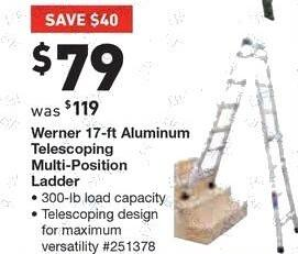 Lowe's Black Friday: Werner 17' Aluminum Multi-Position Ladder for $79.00