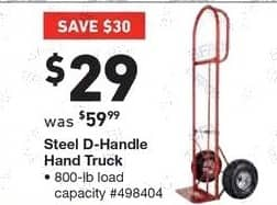 Lowe's Black Friday: Steel D-Handle Hand Truck for $29.00