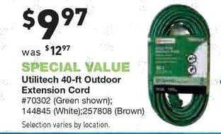 Lowe's Black Friday: Utilitech 40-ft 16-Gauge Outdoor Extension Cord for $9.97