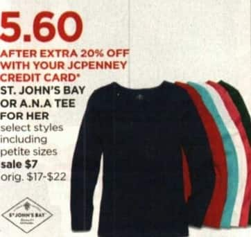 JCPenney Cyber Monday: ST. John's Bay or A.N.A. Tee for Her + Extra 20% off w/ JCP Card for $7.00
