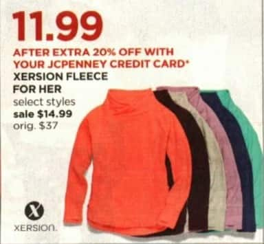 JCPenney Cyber Monday: Xersion Fleece for Her + Extra 20% off w/ JCP Card for $14.99