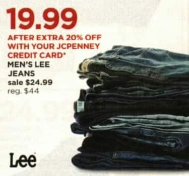 JCPenney Cyber Monday: Lee Jeans for Men + Extra 20% off w/ JCP Card for $24.99
