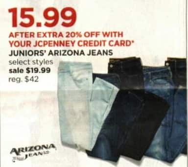 JCPenney Cyber Monday: Juniors' Arizona Jeans + Extra 20% off w/ JCP Card for $19.99