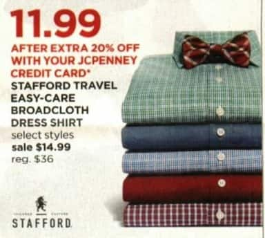 JCPenney Cyber Monday: Stafford Travel Easy Care Broadcloth Dress Shirt + Extra 20% off w/ JCP Card for $14.99